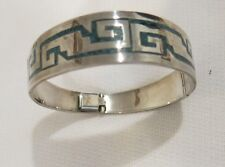 SILVER WITH TURQUOISE INLAY BANGLE CUFF ARTISAN BRACELET
