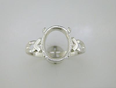(8x6 - 12x10) V Shank Oval Cabochon Solitaire Ring Setting Sterling Silver