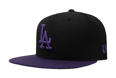 authentic online here quite nice New Era 59Fifty Hat MLB Los Angeles Dodgers Black Purple Fitted ...