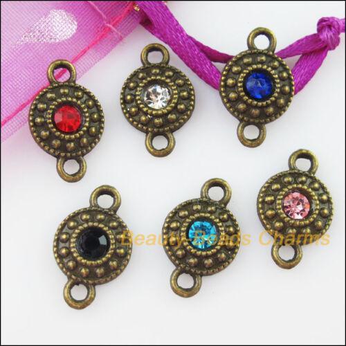 12 Nuevo Con Cristales Dijes redondo bronce envejecido Conectores Colgantes 11x18mm