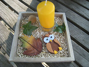 Herbstdeko Dekoschale Kerzentablett Tischdekoration Tischdeko Kerze