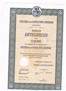 Georg von Giesche's Erben, Hamburg 1953, Anteilschein 1/10.000, sehr selten - le