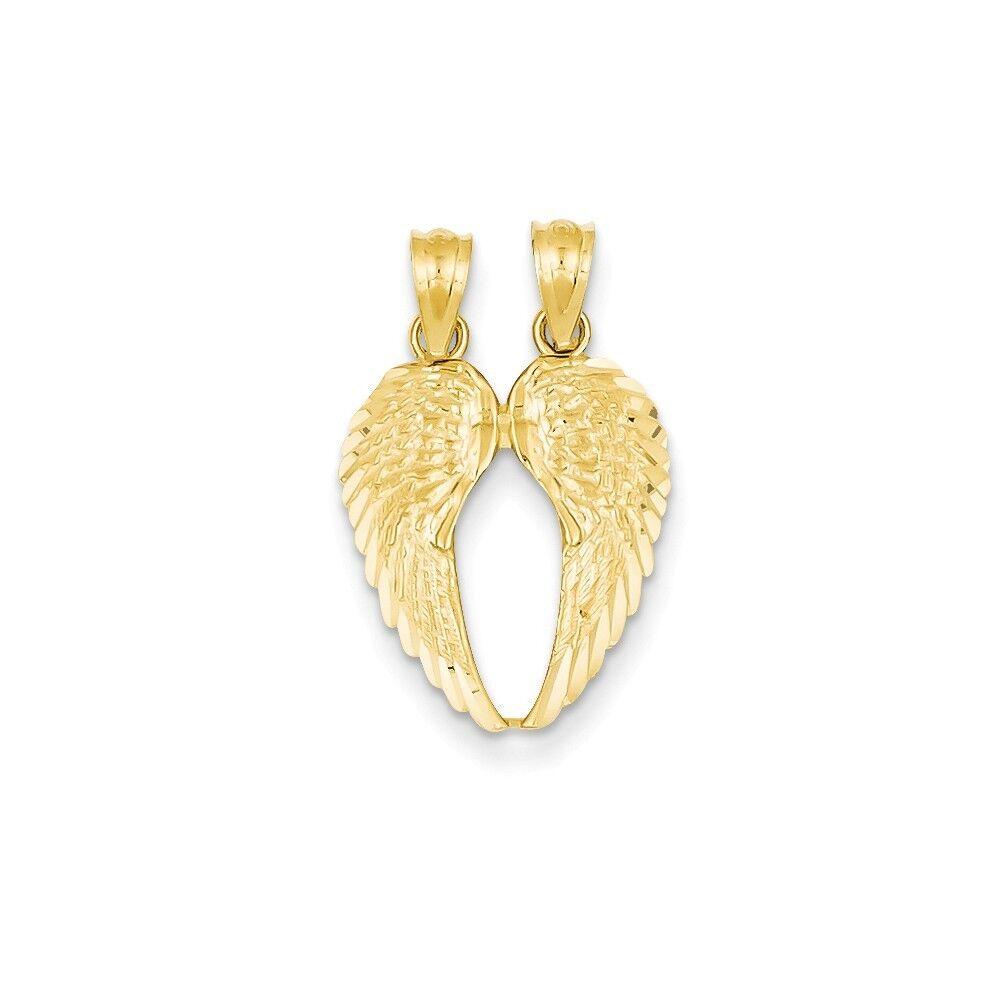 14K Yellow goldBreak Apart Diamond-Cut Wing 18x 15mm 1.03 gr Real Solid gold