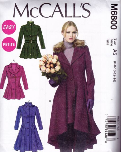 McCall's Sewing Pattern Misses' Lined Coats Belt Detachable Collar 6 - 22 M6800