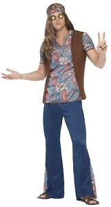 save off 97ee3 6c6ec Dettagli su Uomo Hippy 1960s Anni '60 Anni 70 Woodstock Peace Costume  Vestito S-XL