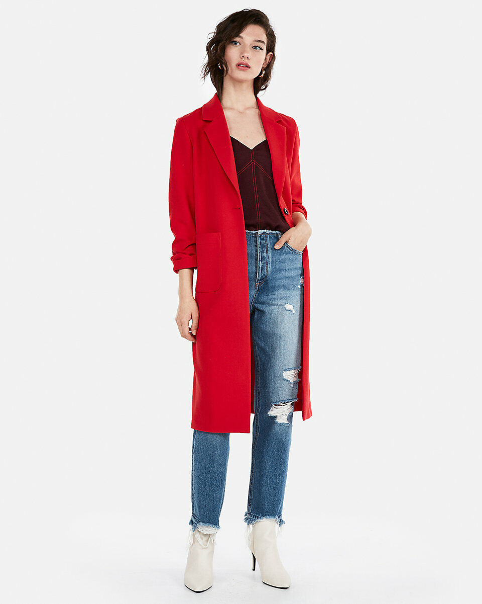 NEW EXPRESS  148 RED DOUBLE WEAVE COAT SZ S SMALL