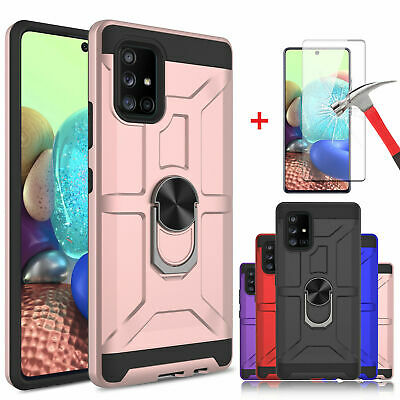 A71 5G Ring Holder Case Compatible with Samsung Galaxy A 71 5G Phone Cases GalaxyA71 5G Kickstand Magnetic Car Mount Cover Heavy Duty Back Bumper 6.7 inch Red