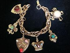 Vintage Estate* 1950's Oppulent Gold Tone Bracelet w Large Regal Jeweled Charms*