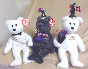 RARE TY New Year Beanie BEARS (3) New Year 2007-New Year-2006 (from 2006),MWMT