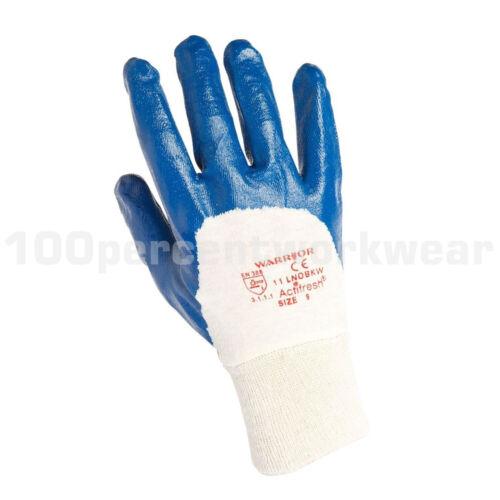 12 Paires WARRIOR 0111 lnobkw Bleu Nitrile feux dos ouvert coton Gants de travail NEUF