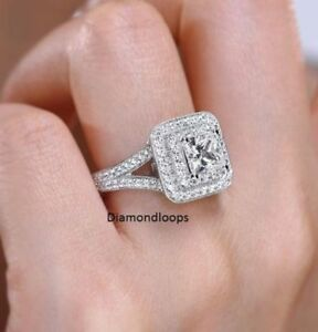 Certified 3.20Ct Round Diamond Double Halo Engagement Ring in 14K White Gold