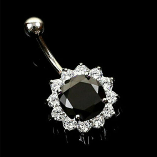 Surgical Steel Navel Belly Button Ring Barbell Rhinestone Crystal Heart Piercing