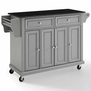 Details about Crosley Furniture Granite Top Kitchen Cart in Vintage Gray  and Black