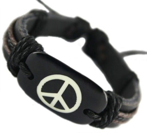D1205 fashion peace sign adjustable black leather bracelet hemp chain jewelry