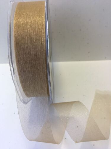 """1/""""  Sheer//Twinkle Ribbon May Arts CT32-5 Yards Antique Gold"""