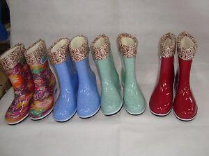 Cute-Women-039-s-Waterproof-Hidden-Heel-Ankle-Rubber-Rain-Shoes-Boots-Size-US-6-9