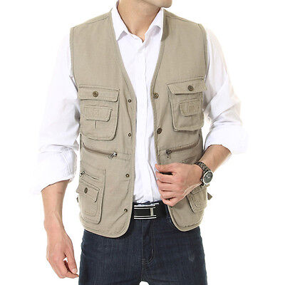 Men's casual cotton Vest multi-pocket Fishing Photography Director waistcoat