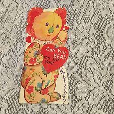 Vintage Greeting Card Valentine Koala Bear Flowers