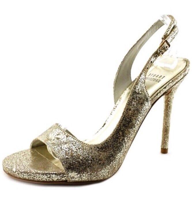 NWOB Stuart Weitzman Reckless Women gold Sandals Sz 9