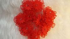 5pcs- Red  Organza Ribbon Flowers  Appliques,Trimmings ,Wedding- 30mm