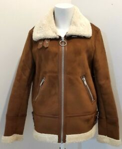 0e5037574 Details about NEW Pimkie Shearling Aviator Jacket, Camel - L