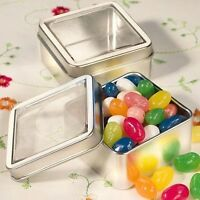50 Silver Metal Square Treat Tin Clear Tops Baby Shower & Wedding Gift Favors on sale