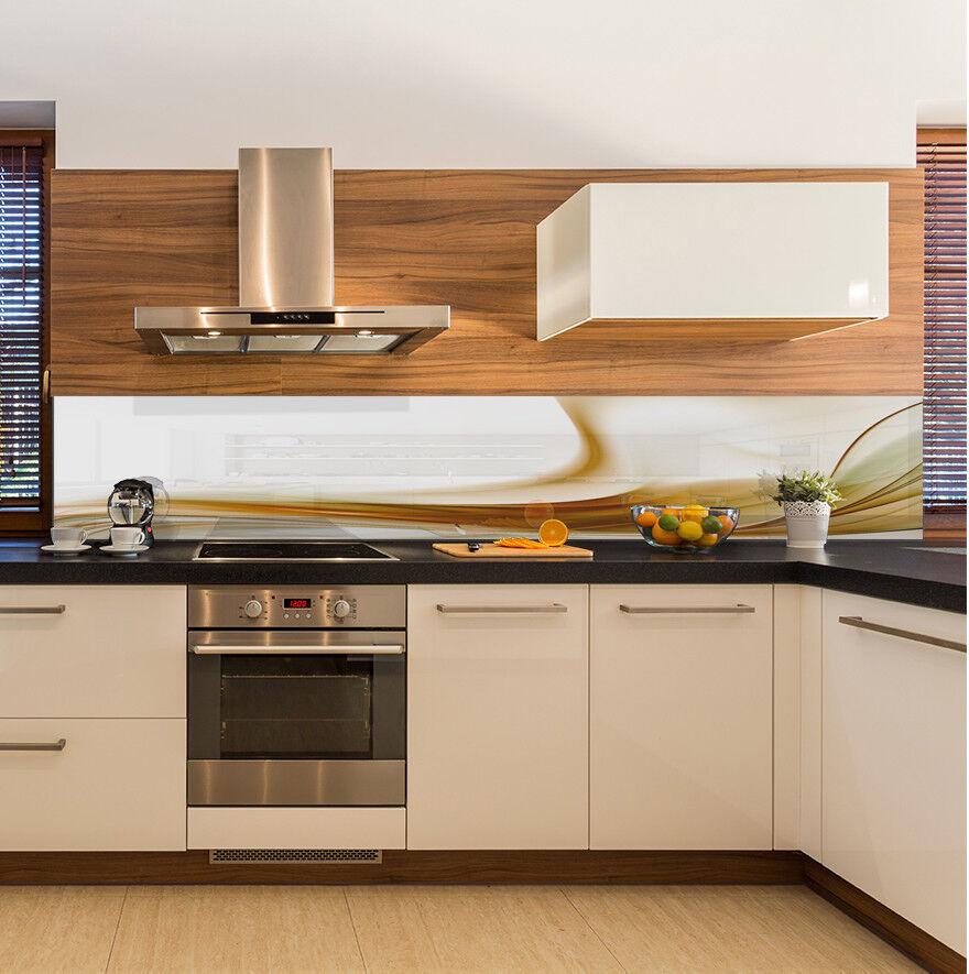 Cuisine Mur arrière anti-projections Cuisine Verre Trempé Abstrait Beige lignes Blanc