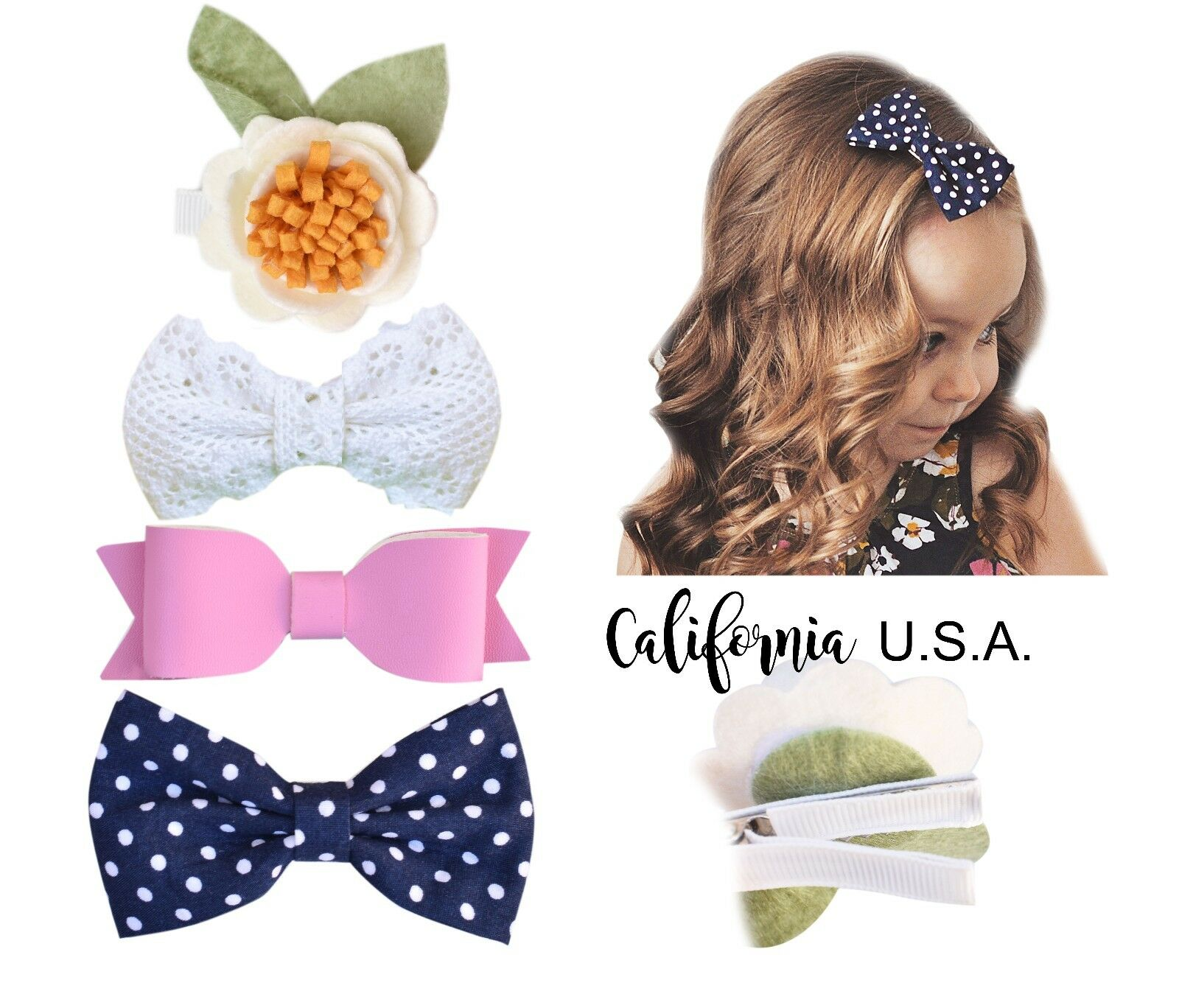 Girls Peach California Tot 4 Premium Faux Leather Bow Hair Clips for Toddler