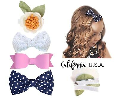 Girls California Tot Premium Faux Suede jojo Bow Hair Clips for Toddler 3D
