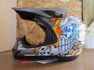 Kids-Childrens-Duchinni-D300-Junior-Motocross-MX-Helmet-Skull-Black-Orange-L