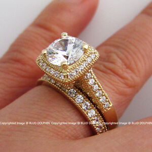 Genuine-Solid-9ct-Yellow-Gold-Engagement-Wedding-2-Rings-Set-Simulated-Diamonds