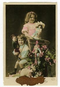 c 1910 Child Children KIDS w/ DOLLS tinted French photo postcard