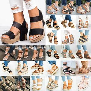 Womens-Ladies-Summer-Platform-Wedge-Ankle-Strap-Sandals-Beach-Pumps-Shoe-Size