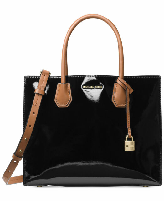 e2db670b0bd5b Michael Kors Studio Mercer Large Tote Patent Leather BLK WT 100 Authentic