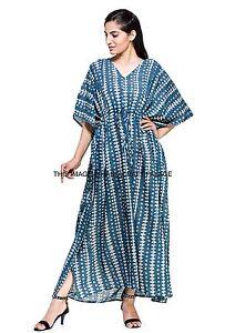 1b18849a73 Indian Kaftan Plus Size Women Dress Caftan Tunic Long Blue Ladies ...