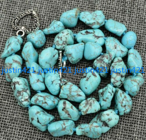 "10-12 mm Naturel Bleu Turquoise Gemstone Chunk Perles Collier Tibétain Argent 18/"""