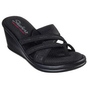 skechers women's sandals black