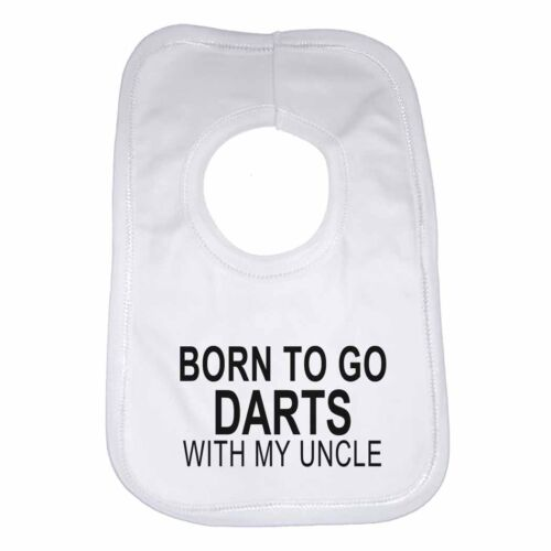 Born to Go Darts with My Uncle Personalised Cotton Baby Bib for Boys /& Girls