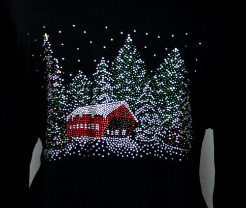 3 abbellito Design 4 Strass Sleeve x Snowy Tree Christmas 1 Plus Top Winter 0q6AEn7