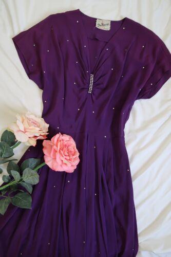 Vintage 1940s DuBarry purple rhinestone studded go