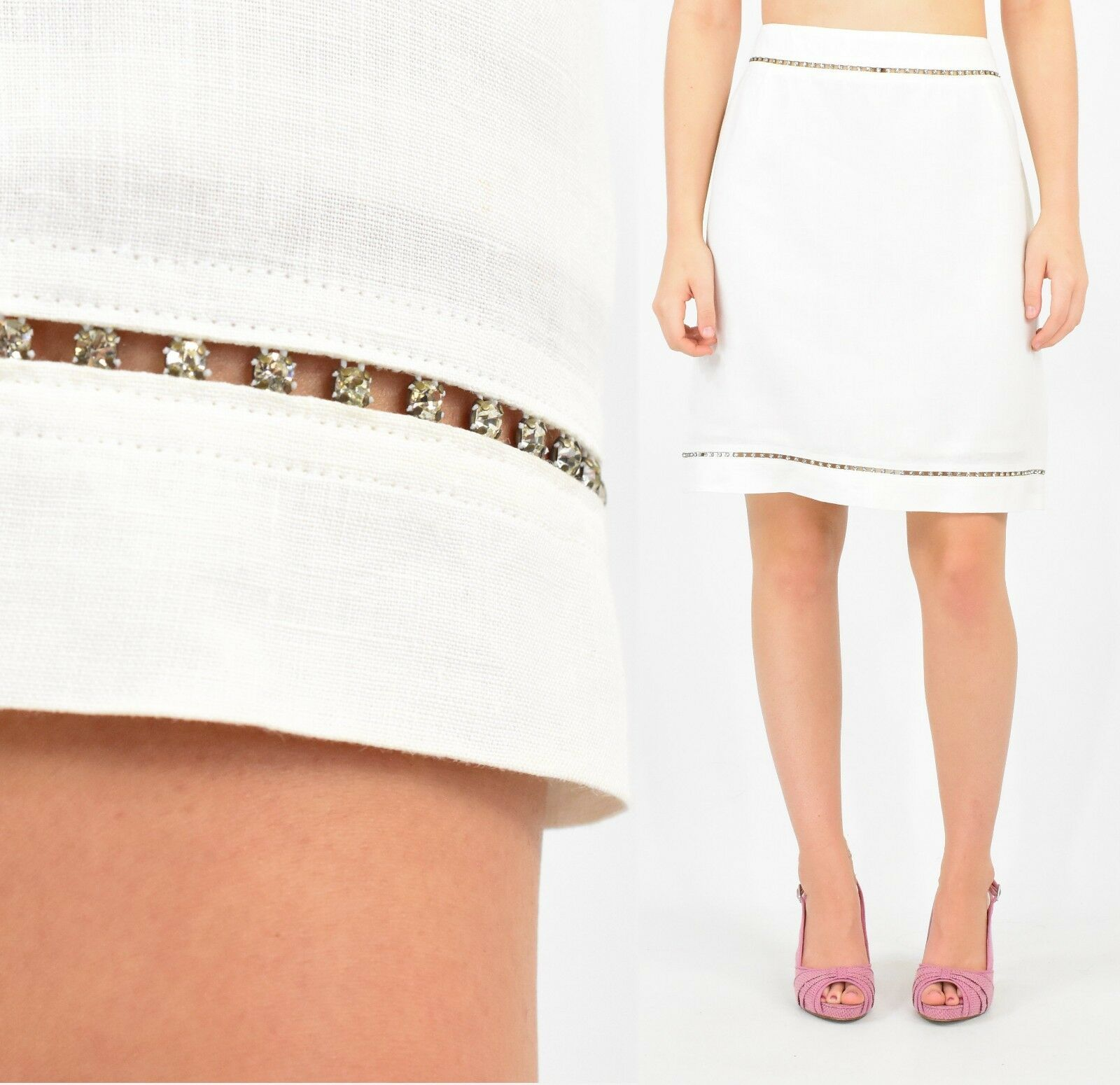 Escada 42 Embellished Skirt Bright White Linen US L 12 14 Pencil Skirt