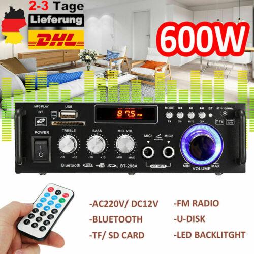 Stereo Verstärker Bluetooth Digital Power Amplifier HiFi FM Audio Amplifier DE