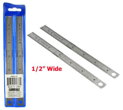 "2-Pc 6/"" Steel Ruler Set 6/"" x 1//2/"""