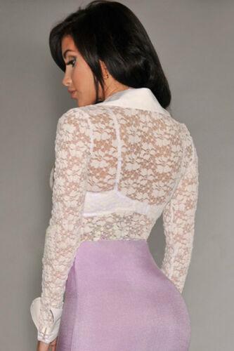 Body camicia maglia ricamato pizzo trasparente Sheer Lace Long Sleeves Bodysuit