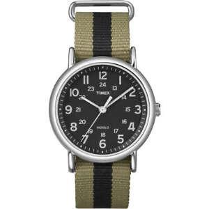 Orologio-Timex-T2P236-weekender-in-tessuto-verde-e-nero-moda-uomo-indiglo-casual