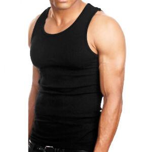 3-6 Packs Mens 100/% Cotton Tank Top A-Shirt Wife-Beater Undershirt Ribbed Black