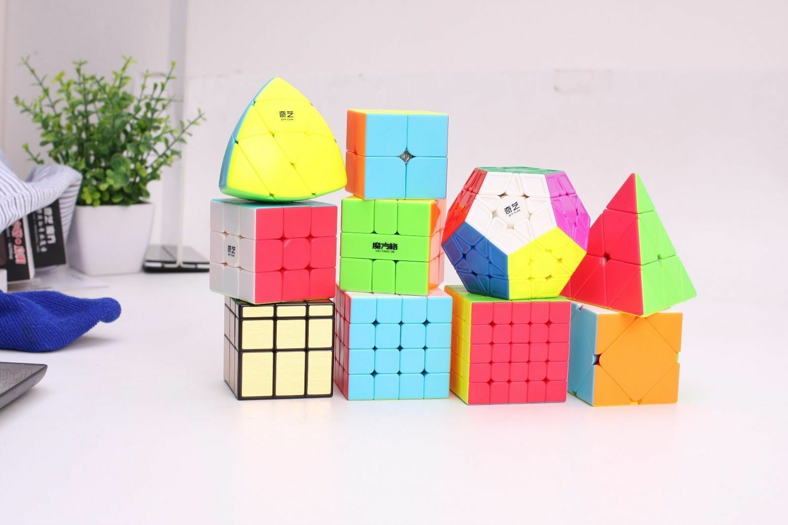 10 pc zauberwrfel set 2x2 3x3x3 4x4x4 5x5x5 pyramide megaminx skewb mirror cube