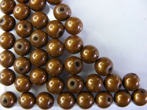 50 PERLES MIRAGE //MIRACLE //MAGIQUE 8mm MARRON A106