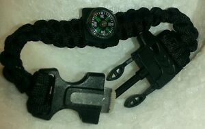 10Qty-9-034-Black-5in1-Paracord-Bracelet-Flint-Blade-Whistle-Compass-Parachute-Cord