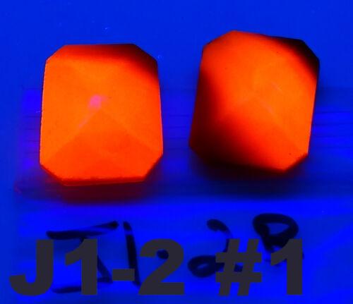 2 Vintage Glass Rhinestones Octagon Coral Glow Amberina Uranium   25x18mm J1-2B